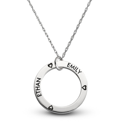 Sterling Family 2 Name Disk Pendant with Hearts with complimentary Filigree Keepsake Box