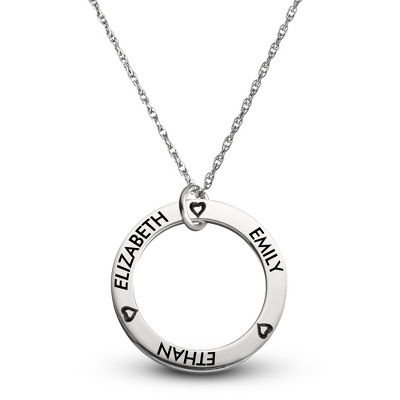 Sterling Family 3 Name Disk Pendant with Hearts with complimentary Filigree Keepsake Box - Sterling Silver Necklaces