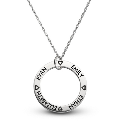 Sterling Family 4 Name Disk Pendant with Hearts with complimentary Filigree Keepsake Box - Sterling Silver Necklaces