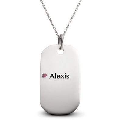 Sterling 1 Birthstone Dog Tag Necklace with complimentary Filigree Keepsake Box