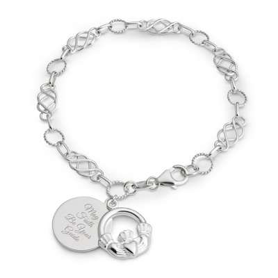 Womens Sterling Silver Engraved Bracelet