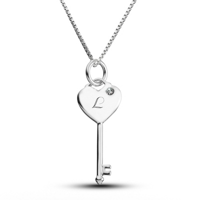 Sterling Silver Birthstone Key Necklace- 1 Stone with complimentary Filigree Keepsake Box