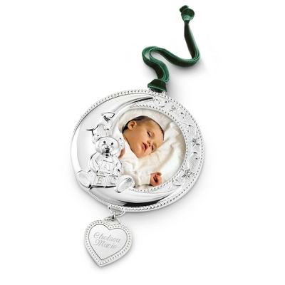 Engraved Silver Baby Ornament