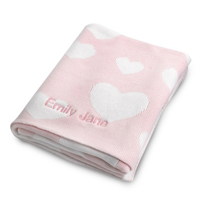 Pink Heart Knit Throw - UPC 825008248472