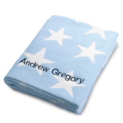 Blue Star Knit Throw - UPC 825008248489