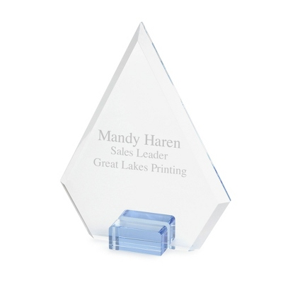 Glass Award with Blue Base - UPC 825008248557