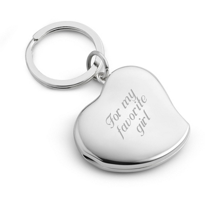 Engraved Heart Locket Key Chain
