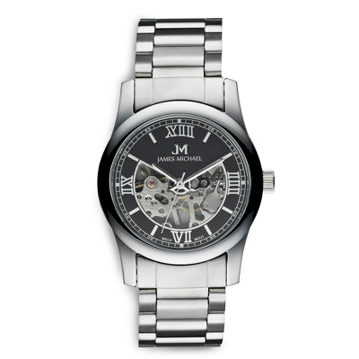 Black Dial Skeleton Watch