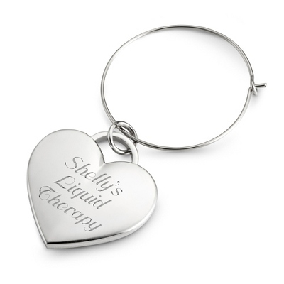 Silver Heart Wine Charms