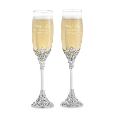 Pearl Wedding Toasting Flutes