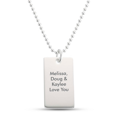 Classically Silver Dog Tag- Vertical