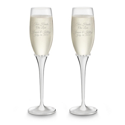Engraved Princess Wedding Flutes