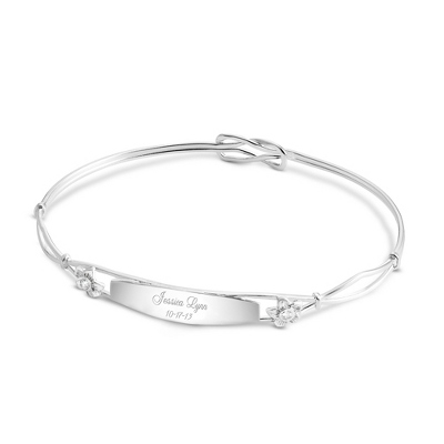 Sterling Silver Girl's Bangle Bracelet with complimentary Filigree Heart Box - Flower Girl