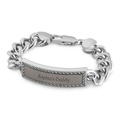 Chain Link Border ID Bracelet with complimentary Tri Tone Valet Box