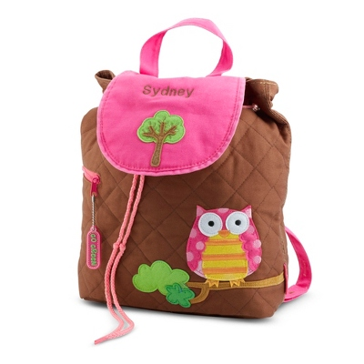 Personalized Pink Owl Quilted Backpack for Girls