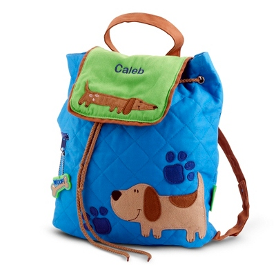 Personalized Blue Puppy Quilted Backpack for Children