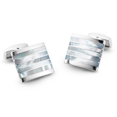 Mother of Pearl Striped Cuff Links with complimentary Weave Texture Valet Box