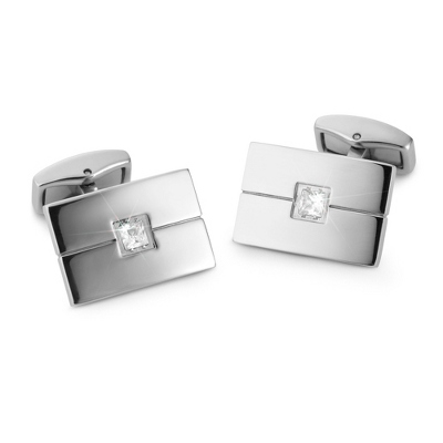 Cuff Links with CZ Accent with complimentary Weave Texture Valet Box