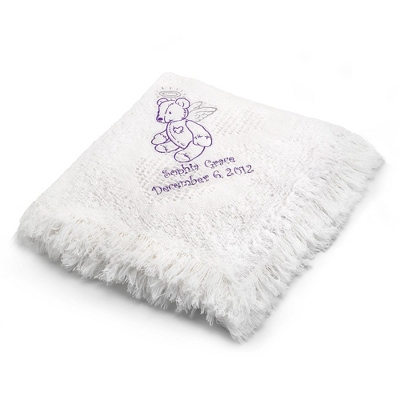Purple Bear Design on White Mini Heart Throw