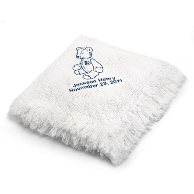 Blue Bear Design on White Mini Heart Throw