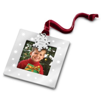 Silver and Stars Photo Frame Ornament