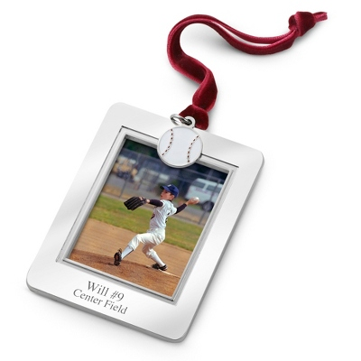Photo Frame Ornament with Baseball Charm - All Christmas Ornaments