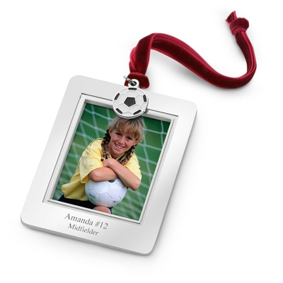 Photo Frame Ornament with Soccer Charm - All Christmas Ornaments