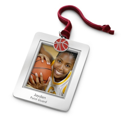 Photo Frame Ornament with Basketball Charm - All Personalized Ornaments