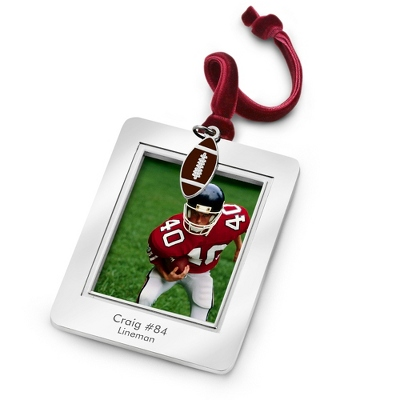 Photo Frame Ornament with Football Charm - All Personalized Ornaments