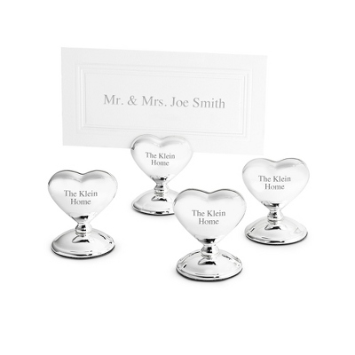 Set of 4 Heart Place Card Holders - Wedding Reception