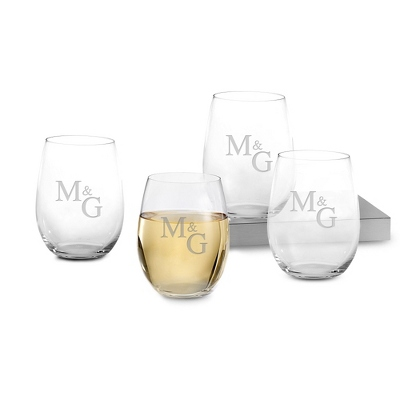 Set of Four Stemless White Wine Glasses with Monogram