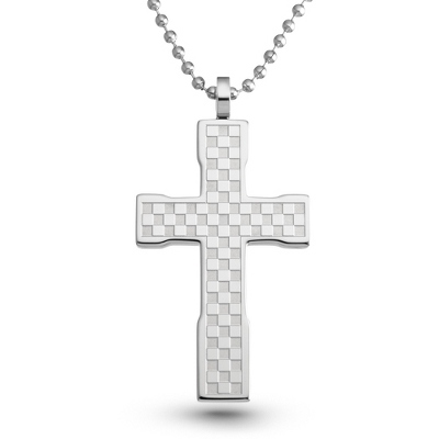 Checkerboard Cross Pendant with complimentary Weave Texture Valet Box