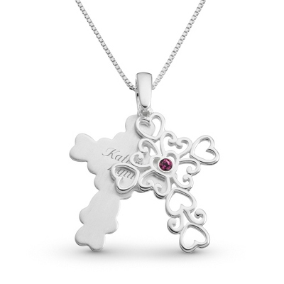 Sterling 1 Birthstone Filigree Cross Necklace with complimentary Filigree Keepsake Box