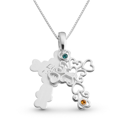Sterling 2 Birthstone Filigree Cross Necklace with complimentary Filigree Keepsake Box