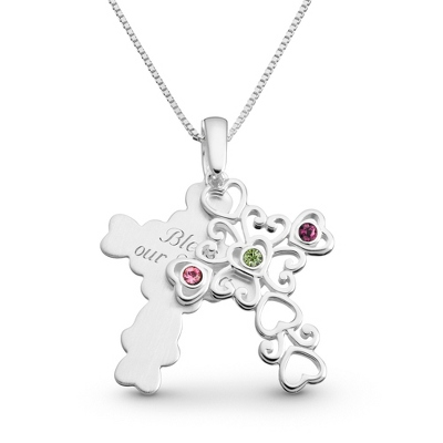 Sterling 3 Birthstone Filigree Cross Necklace with complimentary Filigree Keepsake Box