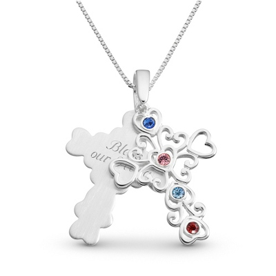 Sterling 4 Birthstone Filigree Cross Necklace with complimentary Filigree Keepsake Box - $64.99