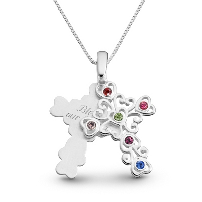 Sterling 6 Birthstone Filigree Cross Necklace with complimentary Filigree Keepsake Box - $71.99