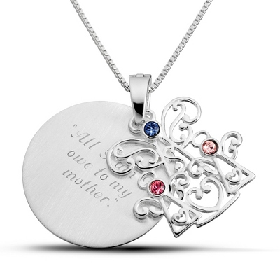 Sterling Mother and 2 Children Birthstone Angels with complimentary Filigree Keepsake Box - $75.00