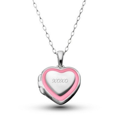 Sterling Girl's Locket with Pink Border with complimentary Filigree Heart Box