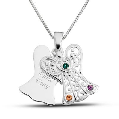Sterling 3 Birthstone Angel Necklace with complimentary Filigree Keepsake Box