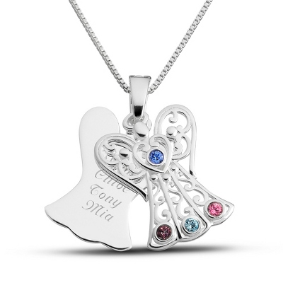Sterling 4 Birthstone Angel Necklace with complimentary Filigree Keepsake Box