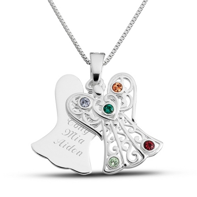 Sterling 5 Birthstone Angel Necklace with complimentary Filigree Keepsake Box - $70.99