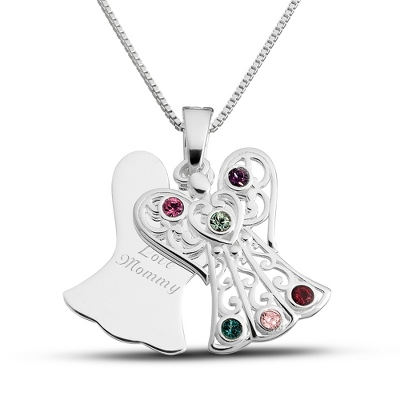 Sterling 6 Birthstone Angel Necklace with complimentary Filigree Keepsake Box