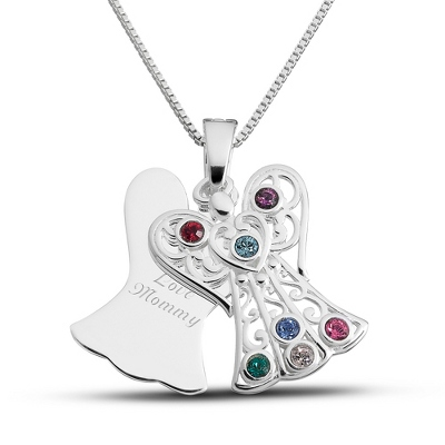 Sterling 7 Birthstone Angel Necklace with complimentary Filigree Keepsake Box - UPC 825008257665