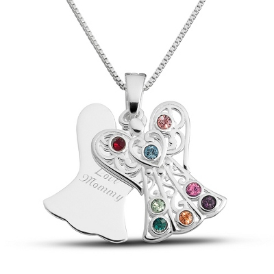 Sterling 8 Birthstone Angel Necklace with complimentary Filigree Keepsake Box