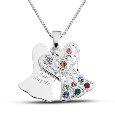 Sterling 9 Birthstone Angel Necklace with complimentary Filigree Keepsake Box