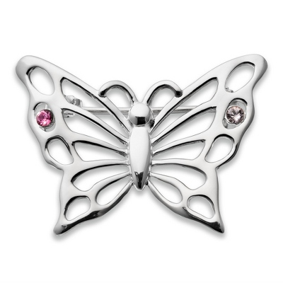 Sterling 2 Birthstone Butterfly Pin with complimentary Filigree Keepsake Box