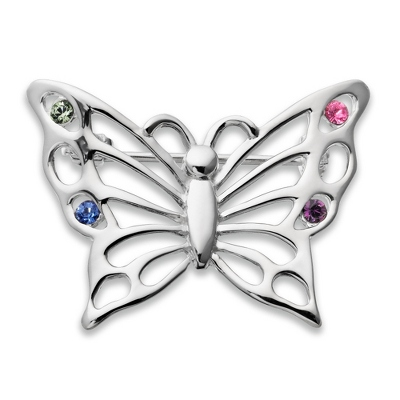 Sterling 4 Birthstone Butterfly Pin with complimentary Filigree Keepsake Box - $34.99