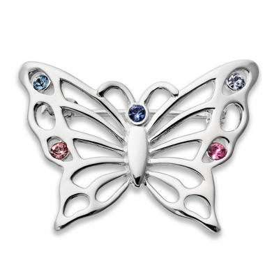 Sterling 5 Birthstone Butterfly Pin with complimentary Filigree Keepsake Box - UPC 825008257726
