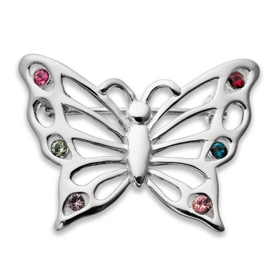 Sterling 6 Birthstone Butterfly Pin with complimentary Filigree Keepsake Box
